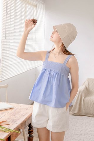 ONNE KR CROCHET BABYDOLL TOP IN BABY BLUE