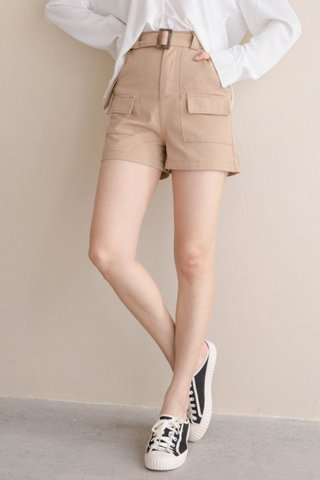 ALMOND BUTTER A'MADE BELTED -5KG SHORTS IN KHAKI
