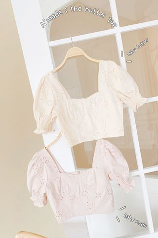 THE BUTTERS KR FRENCH EYELET TOP IN BABY NUDE (NG SALES)