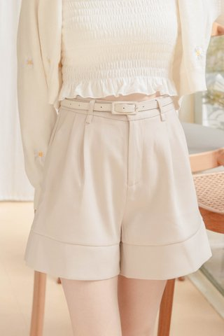 BUT MORE KR -5KG BELTED SHORTS IN CREAM
