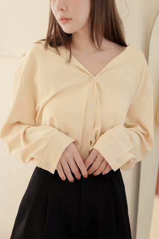 RAINIE KR BASIC COLLAR SHIRT IN BUTTER (NG SALES)