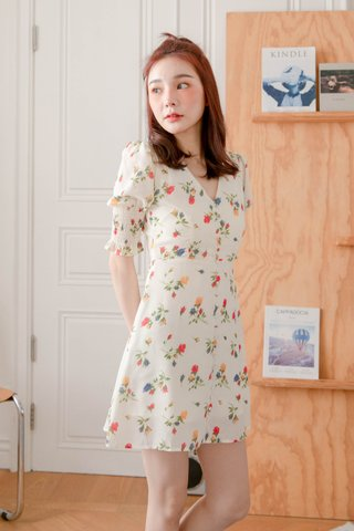 MUFFIN LATTE KR FLORAL PRINT DRESS IN BUTTER