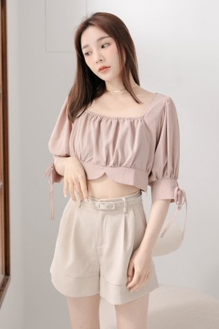 LATTE KR A'MADE SQUARE NECK TOP IN DUSTY BLUSH
