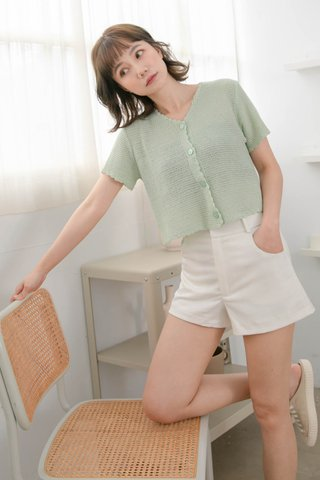 HONEY LOVE KR LETTUCE KNIT TOP IN BABY MINT