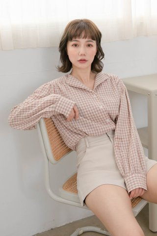 HONEY LOVE KR FRENCH COLLAR CHECKERED SHIRT IN BABY PINK