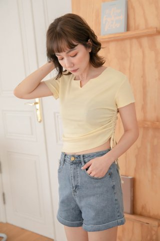 HONEY LOVE KR RUCHED TOP IN BUTTER