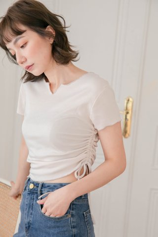HONEY LOVE KR RUCHED TOP IN CREAM
