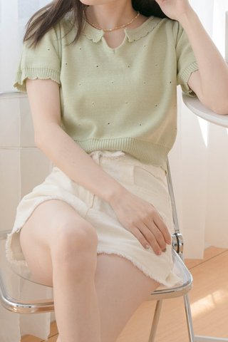 (BACKORDER) HONEY YU KR SCALLOP HEM KNIT TOP IN AVOCADO