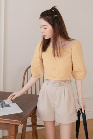 SOOH KR PLEATED SLEEVE TOP IN YELLOW