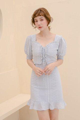 HONEY BAKED KR EYELET DRESS IN BABY BLUE