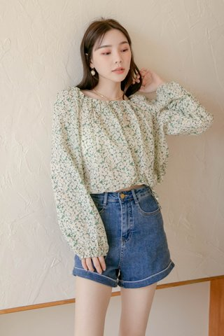 (BACKORDER) ALMOND HONEY 2 WAYS FLORAL TOP IN GREEN