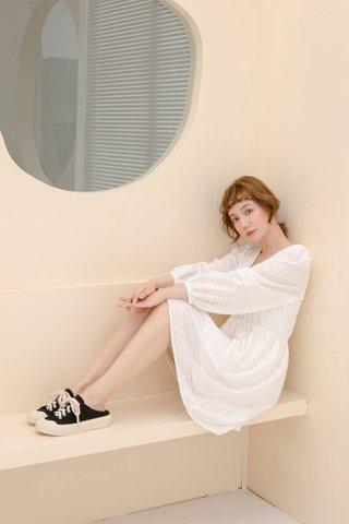 BUTTER BAKERY KR EYELET DRESS IN WHITE