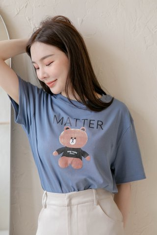 (BACKORDER) HONEY LOVE KR ' MATTER ' BEAR TEE IN BLUE