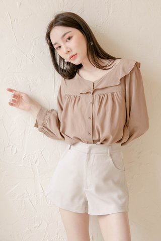 (BACKORDER) HONEY LOVE KR RUFFLED TOP IN KHAKI