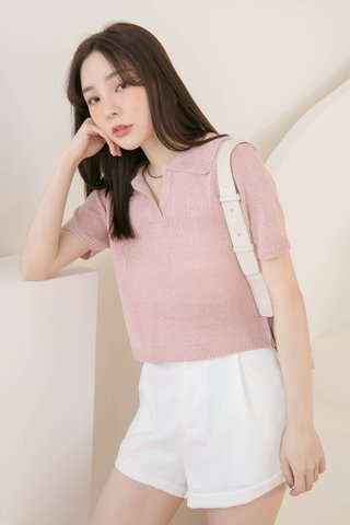 (BACKORDER) HONEY LOVE KR POLO KNIT TOP IN BABY PINK