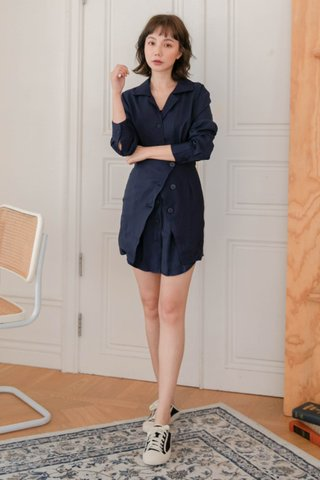 SOOH KR OVERLAP -5KG DRESS IN NAVY BLUE