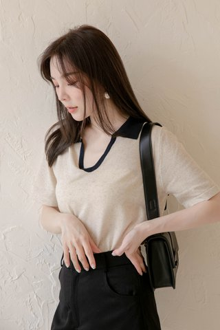 (BACKORDER) HONEY LOVE KR CONTRAST POLO KNIT TOP IN OAT