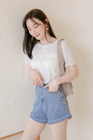 SOOH KR LETTUCE KNIT TOP IN WHITE