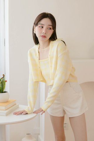 BUT HONEY KR CHECKERED CARDIGAN SET IN LEMON