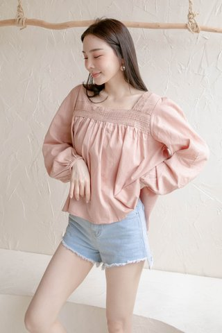 HONEY LOVE KR CROCHET TOP IN BABY PINK