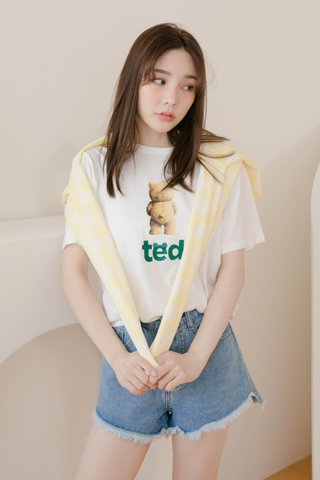HONEY LOVE KR TED BEAR TEE IN WHITE