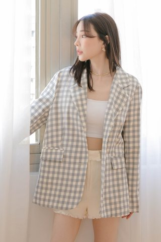 HONEY YU KR CHECKERED BLAZER IN MILK GREY