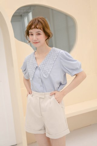 LEMON BUTTER KR PETERPAN COLLAR TOP IN BLUE