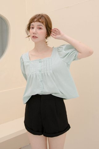 LEMON BUTTER KR PLEATED TOP IN MILK GREEN