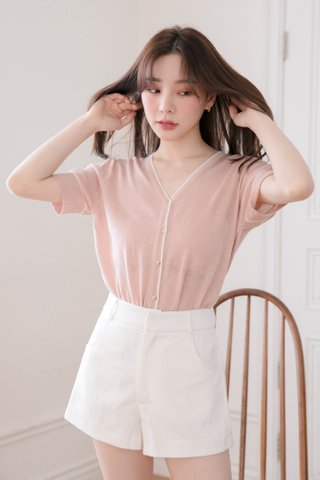 BUT HONEY KR CONTRAST KNIT TOP IN PINK