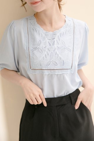 LIMON HONEY KR FLORAL NECK TOP IN BABY BLUE