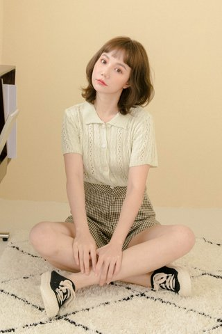 ECLAIR LE KR POLO KNIT TOP IN HONEY GREEN