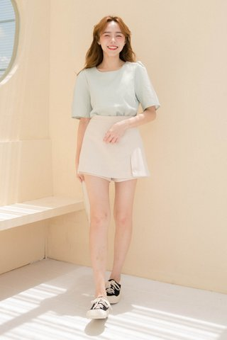 ECLAIR KR CHECKERED PUFFY SLEEVE TOP IN MILK GREEN
