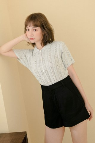 ECLAIR LE KR POLO KNIT TOP IN HONEY BLUE