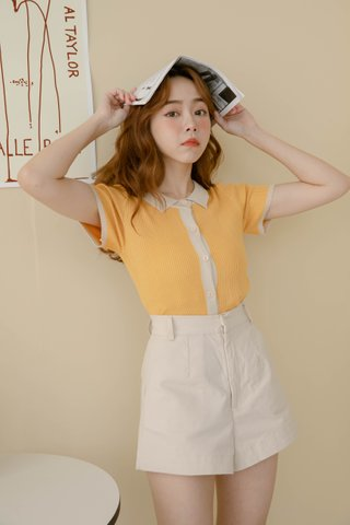 PETIT PEANUT BASIC KNIT TOP IN SALTED EGG