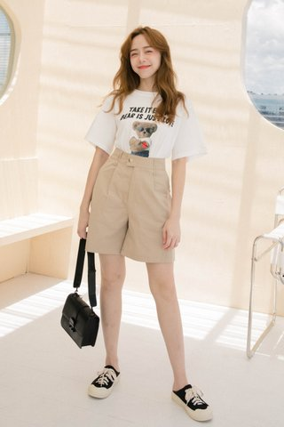 BUT HONEY OVERSIZED ' BEAR IS JUST LOVE ' TEE IN WHITE