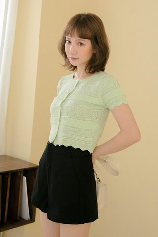 ALMOND BUTTER EYELET TOP IN GREEN