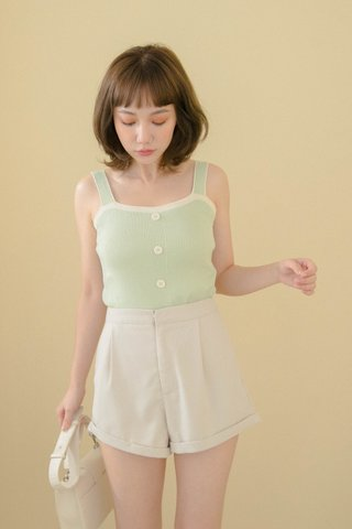 ALMOND BUTTER CONTRAST CAMI TOP IN GREEN