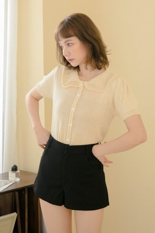 HIBISCUIT FRENCH COLLAR KNIT TOP IN BUTTER