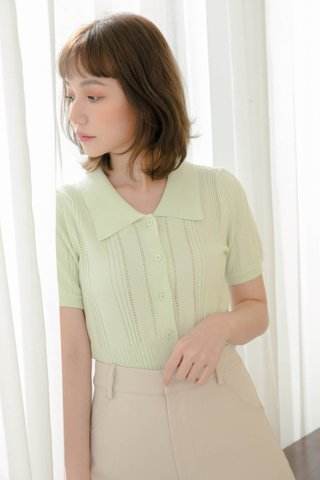 ALMOND BUTTER POLO KNIT TOP IN GREEN