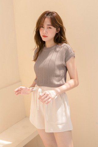 (BACKORDER) ALMOND COOKIES CABLE KNIT TOP IN BROWN