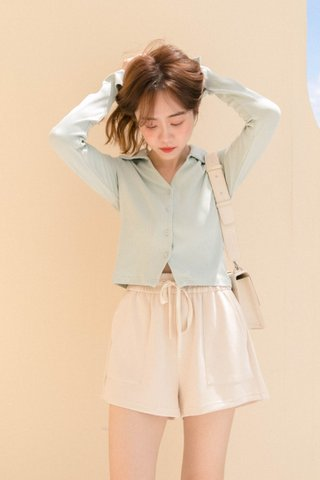 HIBISCUIT KR POLO V NECK TOP IN MILK GREEN