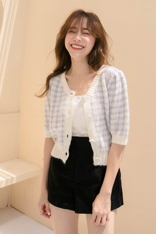 (BACKORDER) PILLOW COOKIES CHECKED KNIT CARDIGAN IN HONEY LILAC