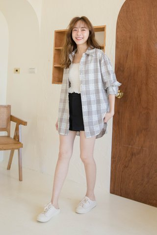 PILLOW COOKIES KR CHECKED SHIRT IN HONEY GREY