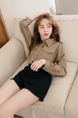 PILLOW COOKIES KR DOUBLE POCKET SHIRT IN OLIVE KHAKI