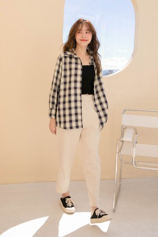(BACKORDER) TOFFEE COOKIES CHECKERED TOP IN NAVY BLUE
