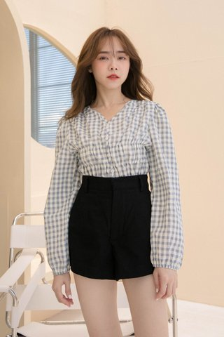 (BACKORDER) TOFFEE COOKIES RUFFLED CHECKERED TOP IN BLUE