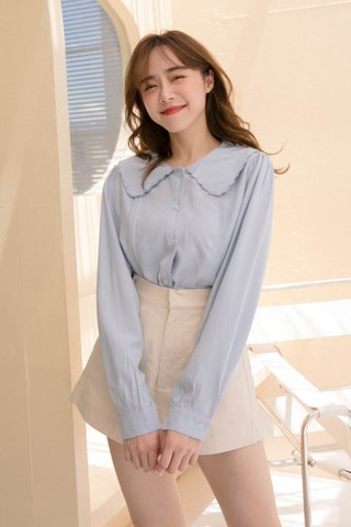 TOFFEE COOKIES SCALLOP COLLAR TOP IN BABY BLUE