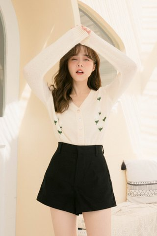 HEY LETTE KR FLORAL EMBROIDERY CARDIGAN IN CREAM