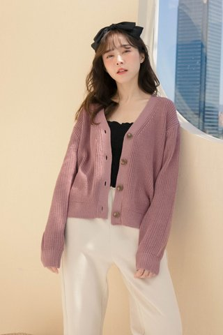 (BACKORDER) BUT FLUFY KR CABLE CARDIGAN IN HONEY PINK